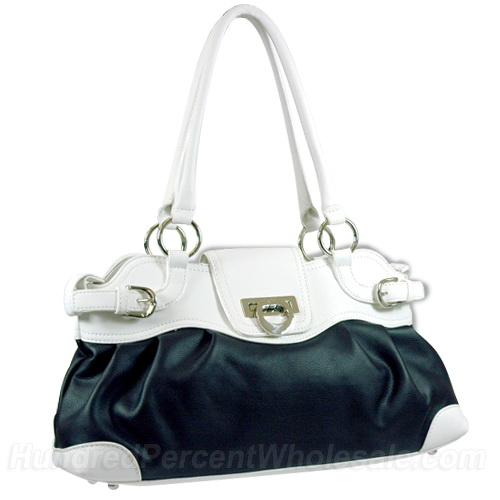 Dasein women's designer inspired buckle front shoulder bag - Black / White