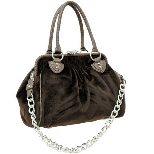 Dasein Faux Fur Handbag with Alligator Trim - Brown
