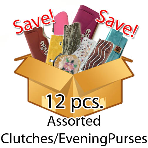 12 Pcs . Assorted Clutches and Evening Bags , Value Pack