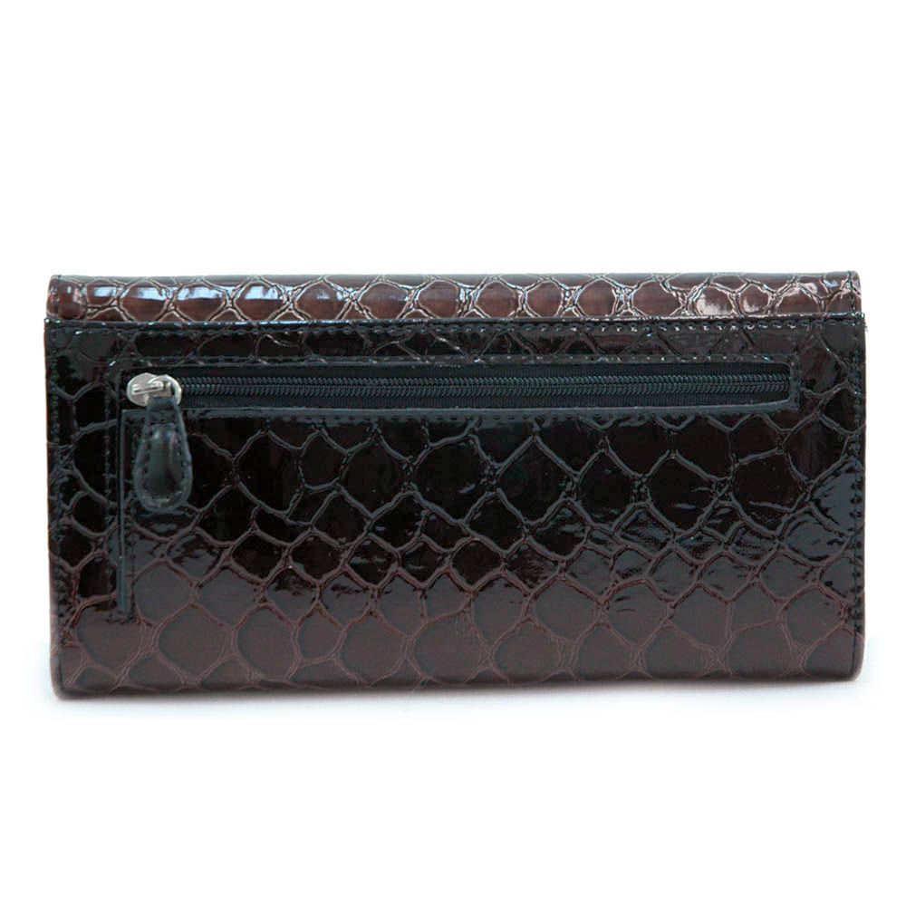 Vani Snake Skin Embossed Fold Over Flap Checkbook Wallet-Black