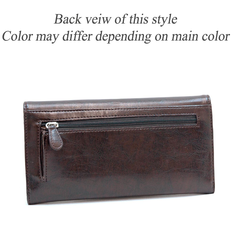 Dasein Plain Textu Fold Over Flap Checkbook Wallet