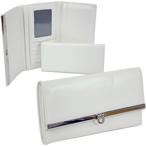 Dasein Long Plain Fold Over Flap Checkbook Wallet - White