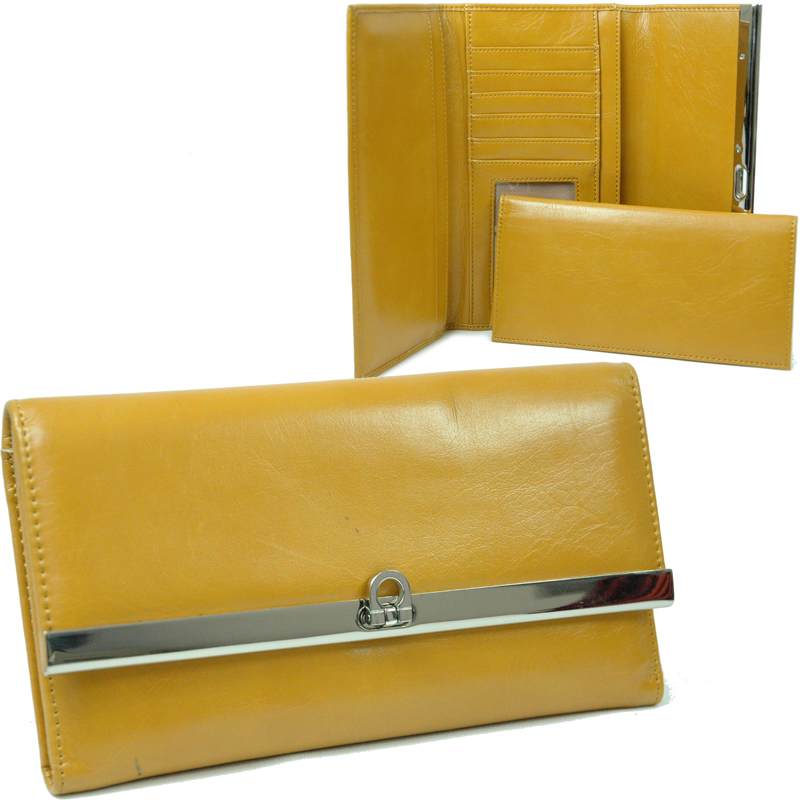 Dasein Plain Fold Over Flap Checkbook Wallet - Mustard Yellow
