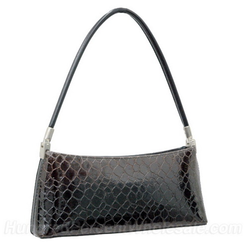 Vani Desinger Inspired Patent Leatherette Shoulder Bag - Black