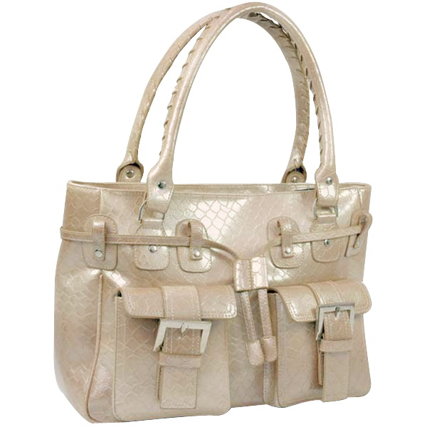 Patent leatherette pocket front women croco shoulder bag handbag