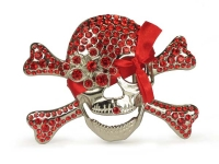 Rhinestone Skull and Crossbones Belt Buckle - Sian