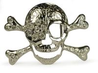 Rhinestone Skull and Crossbones Belt Buckle - Clear