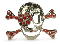 Rhinestone Skull and Crossbones Belt Buckle - Red