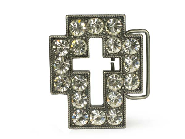 Rhinestone cut-out cross sign belt buckle