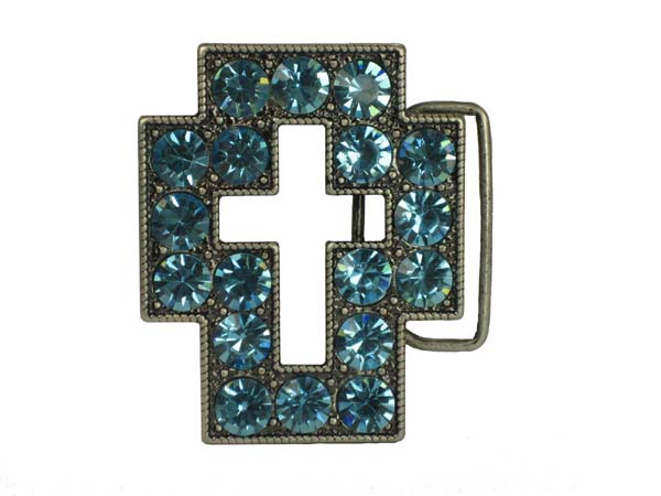 Rhinestone Cut-Out Cross Sign Belt Buckle - Clear