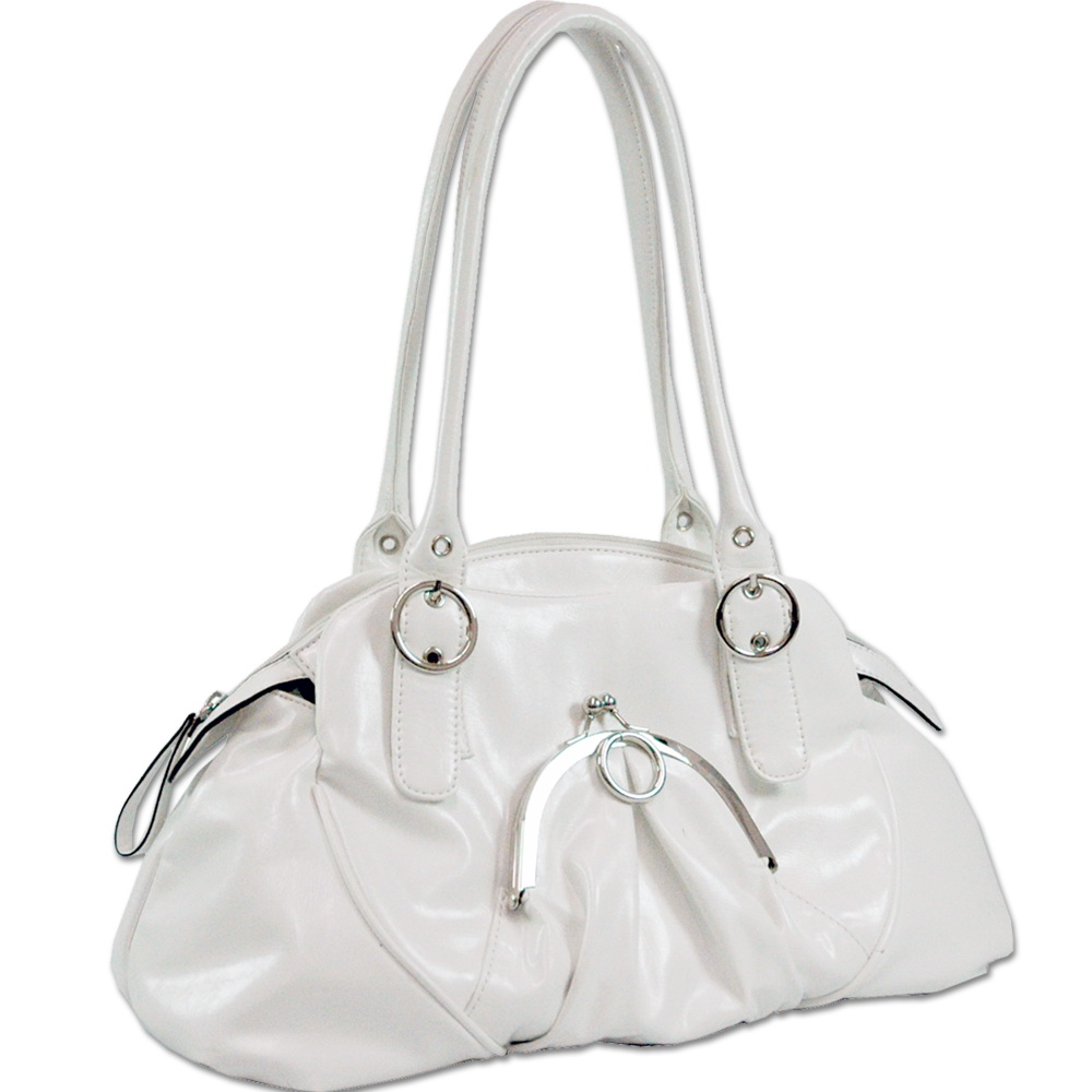 Dasein Front Kiss Lock Pocket Shoulder Bag - White