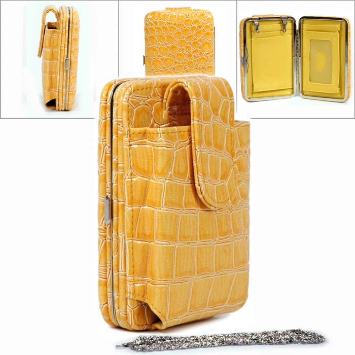 Snake Skin Cellphone / Ipod / Iphone Holder Frame Wallet - Yellow