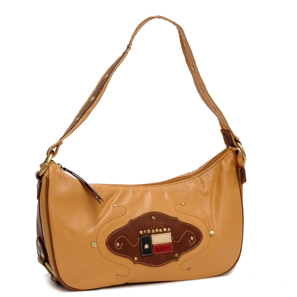 Country Road Western Style Shoulder Bag with Back Zippered Pocket - Brown
