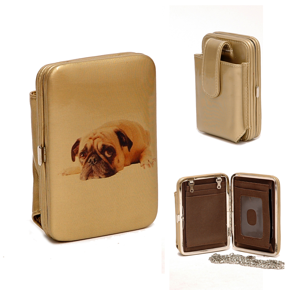 Country Road Dog Cellphone / Iphone / Ipod Case Frame Wallet - Tan/Gold