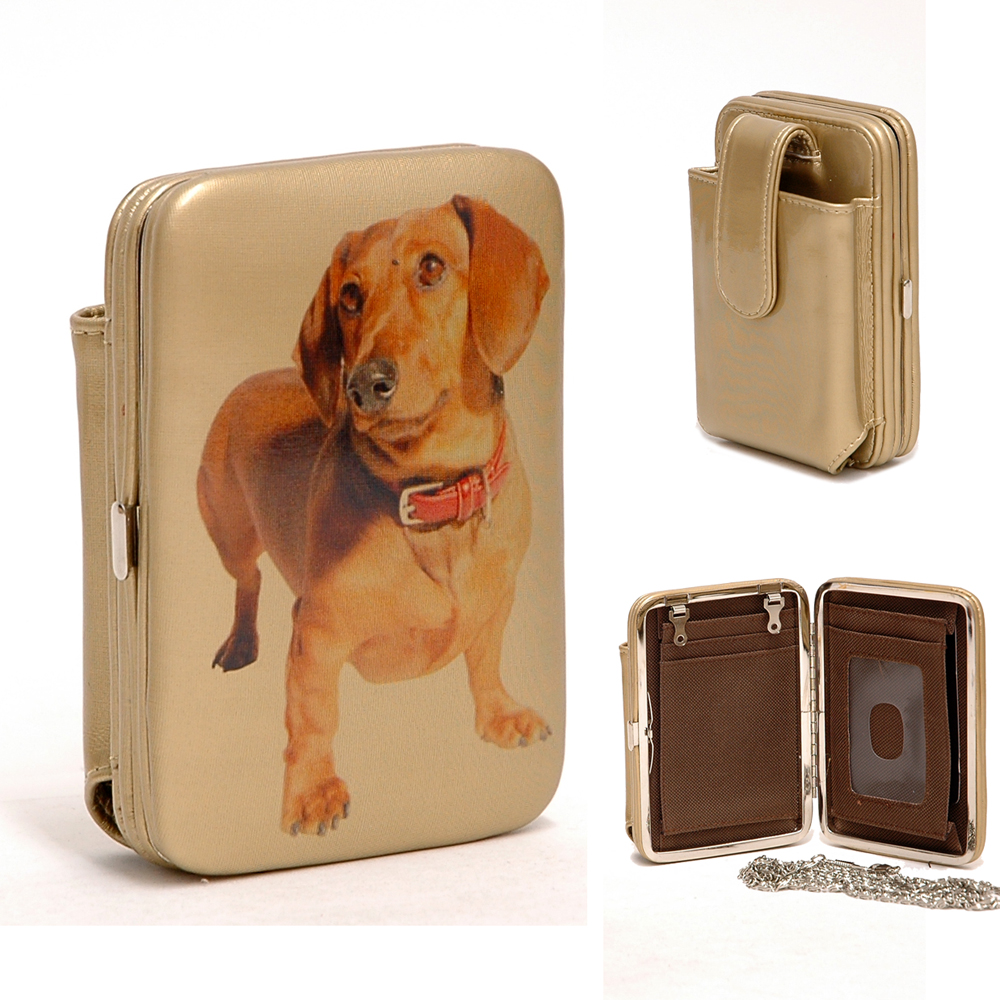 Dog Printed Cellphone holder with frame wallet