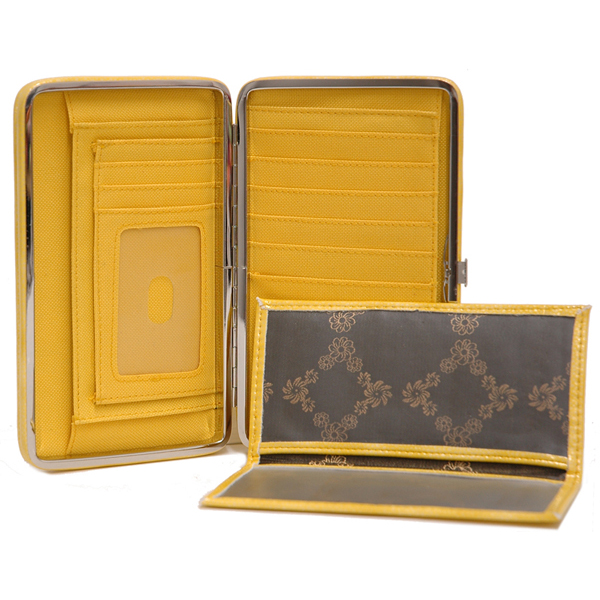 Country Road Women Texture Embossed Extra Deep Frame Checkbook Frame Wallet - Yellow