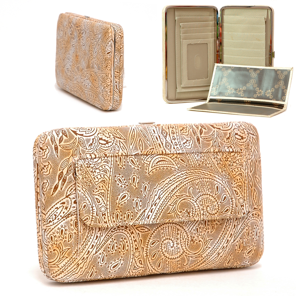 Paisley Texture Embossed Extra Deep Frame Checkbook Frame Wallet - Tan
