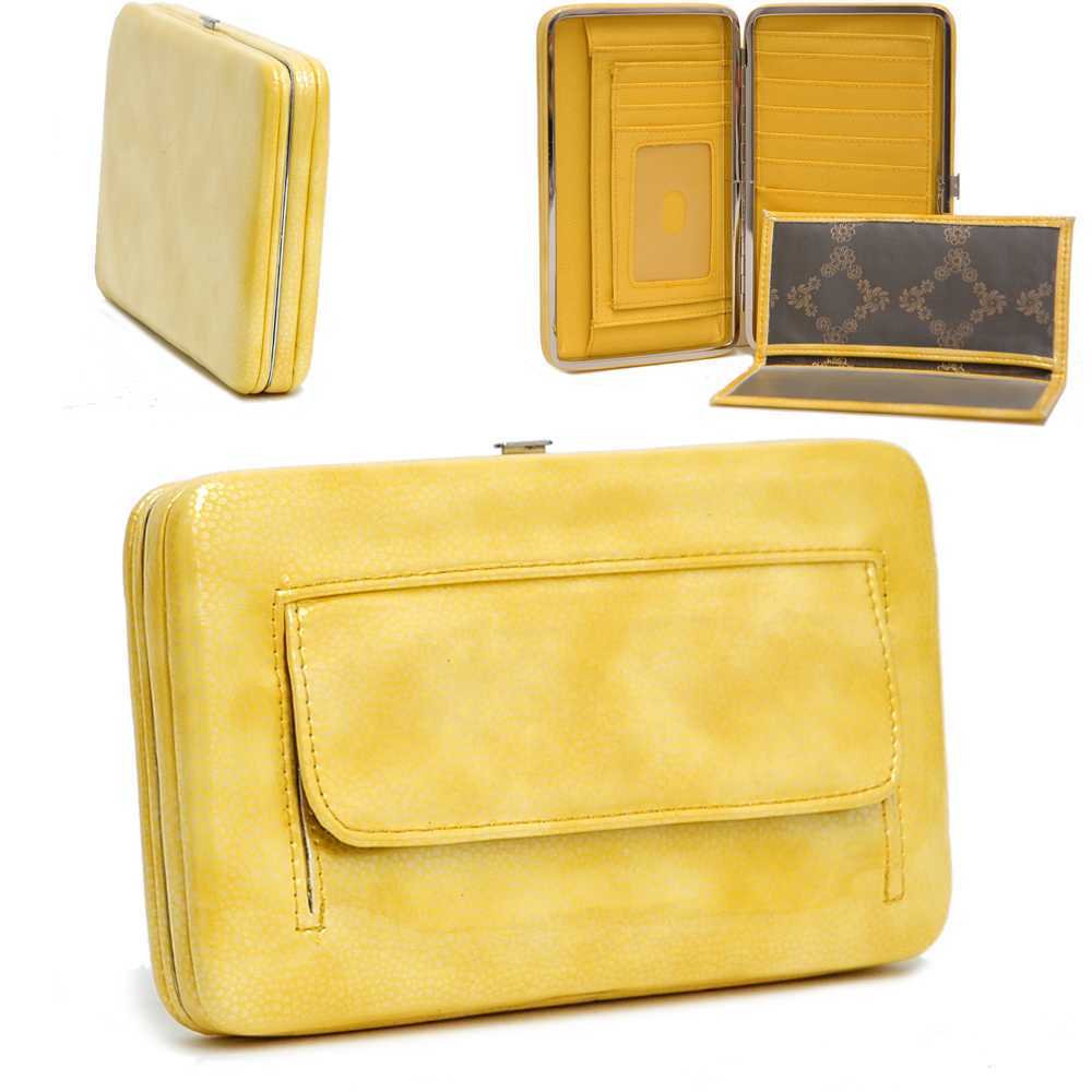 Country Road Textured Extra Deep Metal Frame Wallet - Yellow