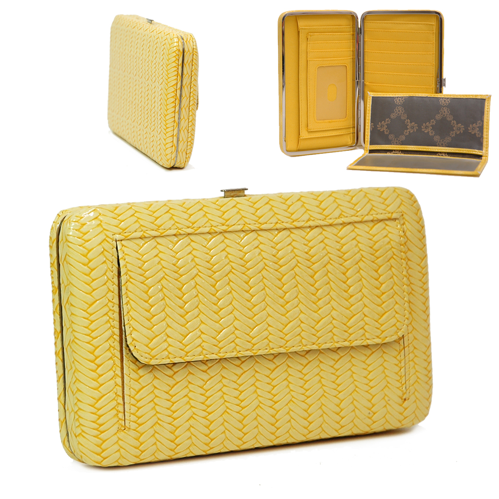 Country Road Weaved Texture Extra Deep Checkbook Wallet - Yellow