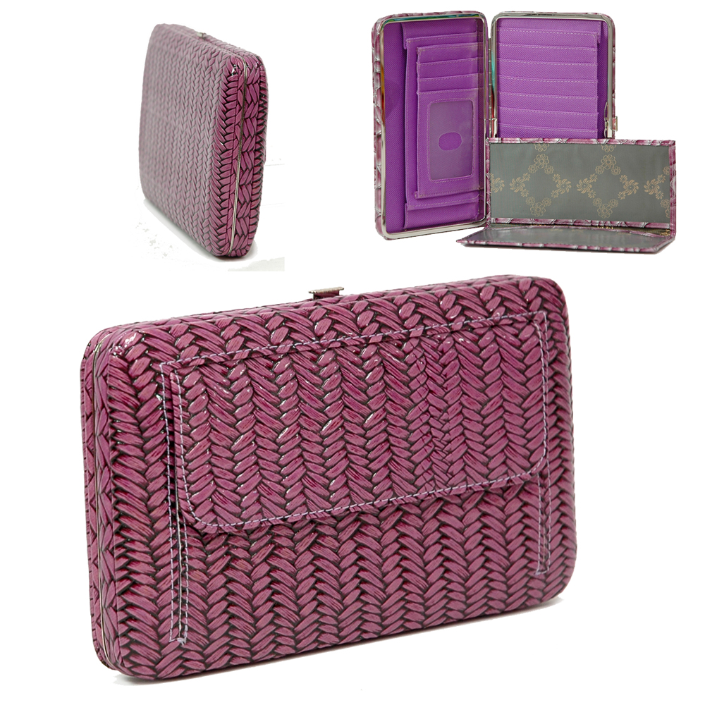 Texture Embossed Extra Deep Metal Frame Wallet