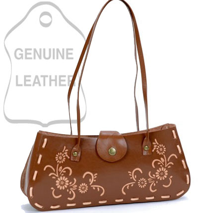 Dasein Plain Flower Printed Flip Flap Accented Shoulder Bag - Tan