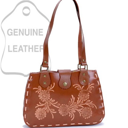 Dasein Elegant Flower Printed Flip Flap Accented Western Shoulder Bag - Tan