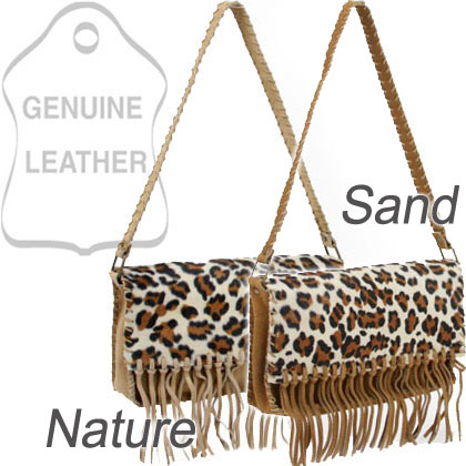 Dasein Genuine Suede Leather Shoulder Bag With Leopard Print Flap & Tassel Accents - Nature