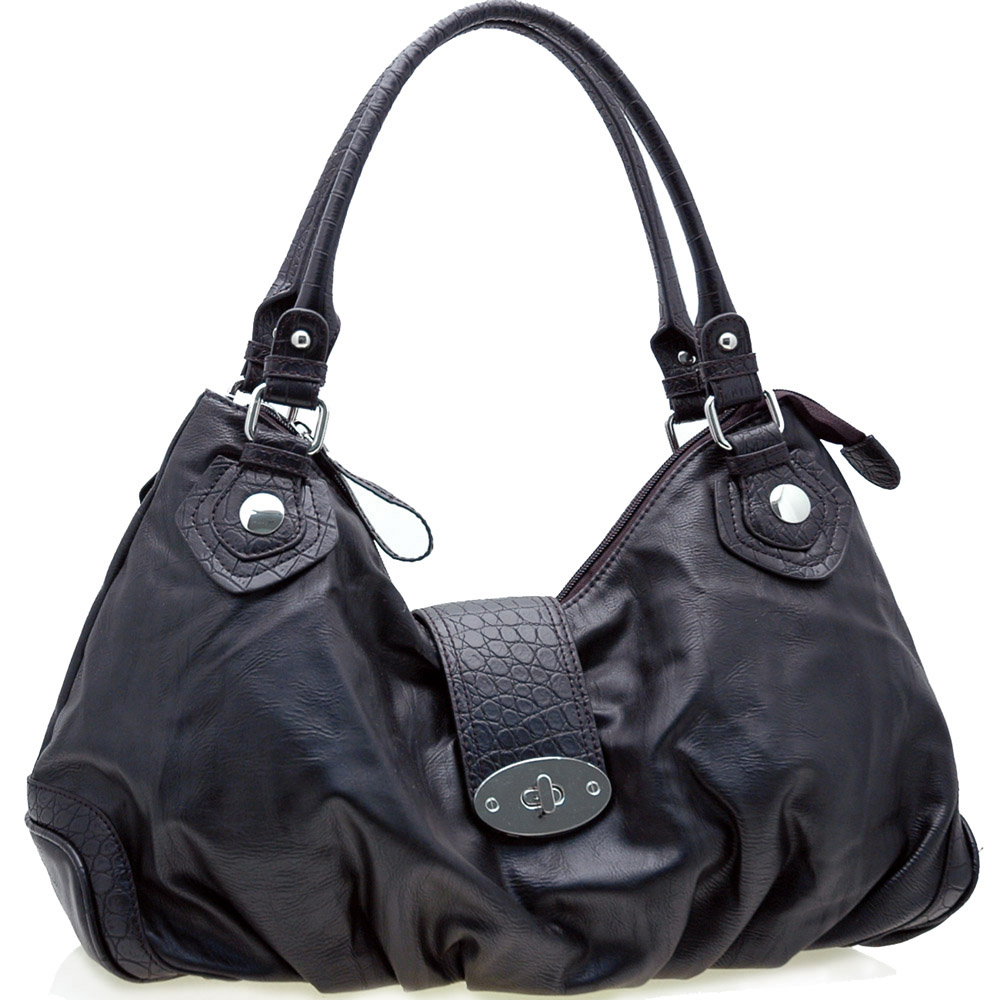 Dasein Two-Tone Shoulder Bag with Front Turnlock