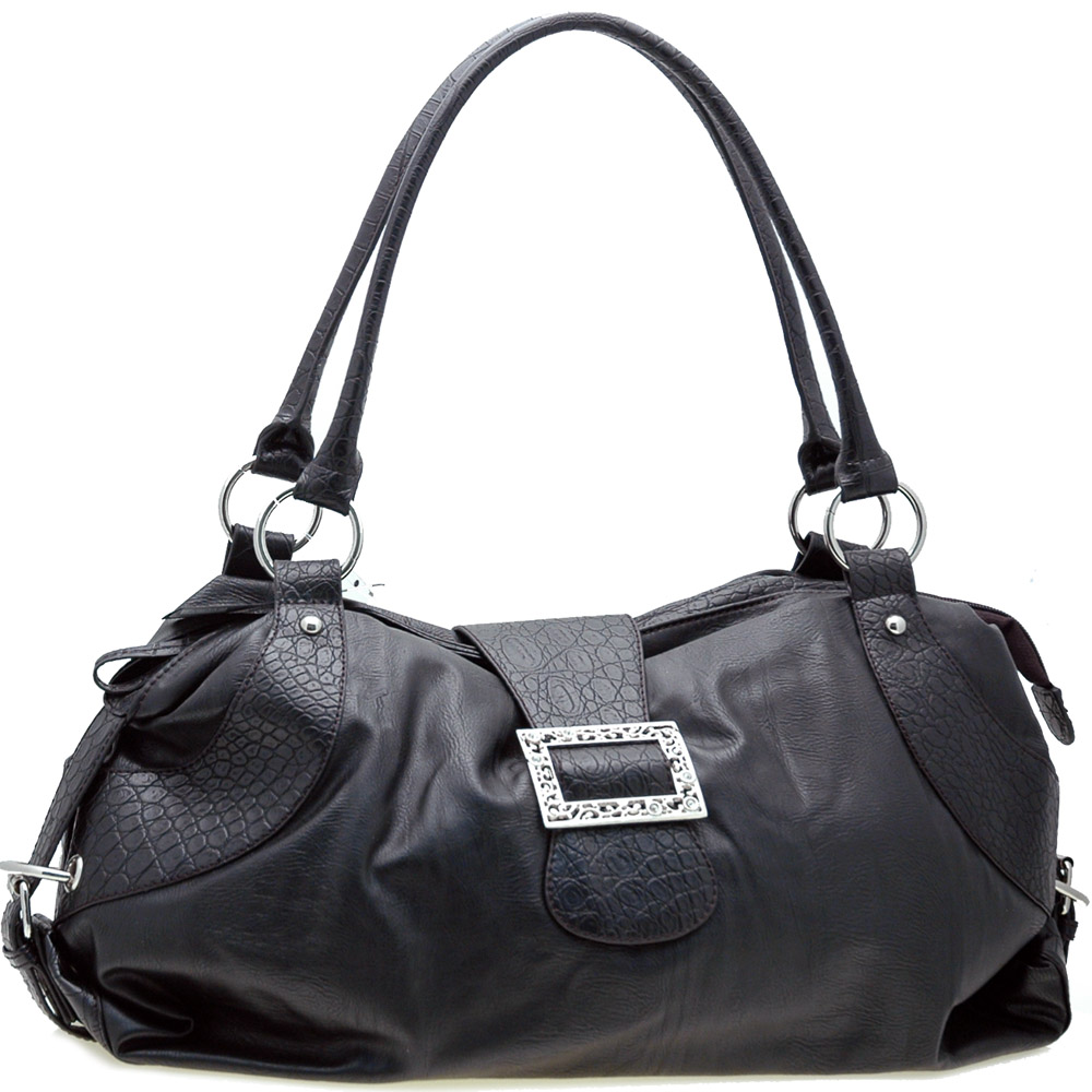 Dasein Two-Tone Shoulder Bag with Front Buckle