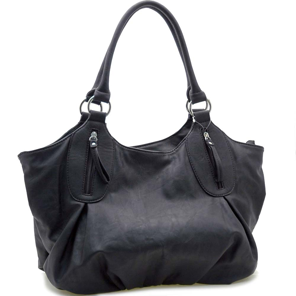 Dasein 2 Tone Designer Inspired Shoulder Bag-Black