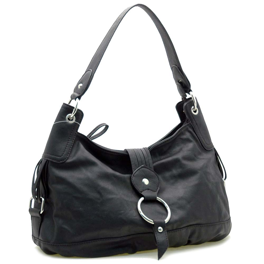 Ring Accented Front Flap w/ Magnet Hobo Handbag