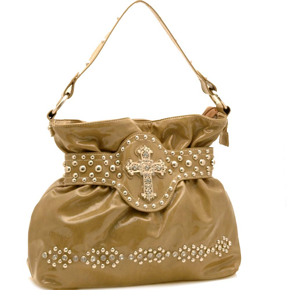 Cross Accent Shinny Shoulder Bag