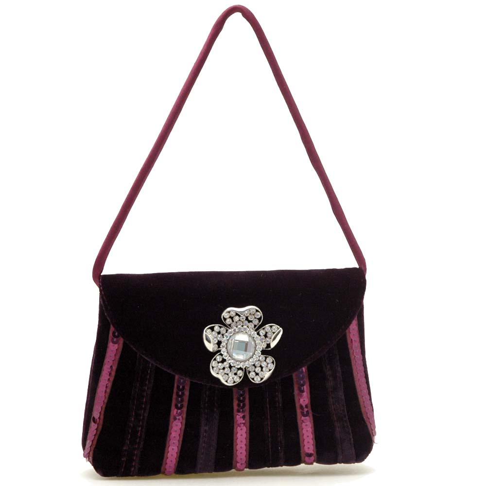 Classy Velvet Evening Bag Rhinestone Jewel Ornament Front