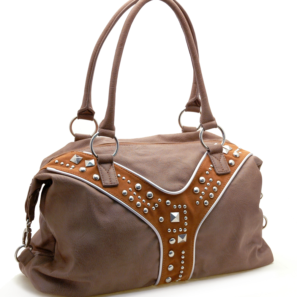 Dasein Mitwelt® Studded Suede Fork Shoulder Bag