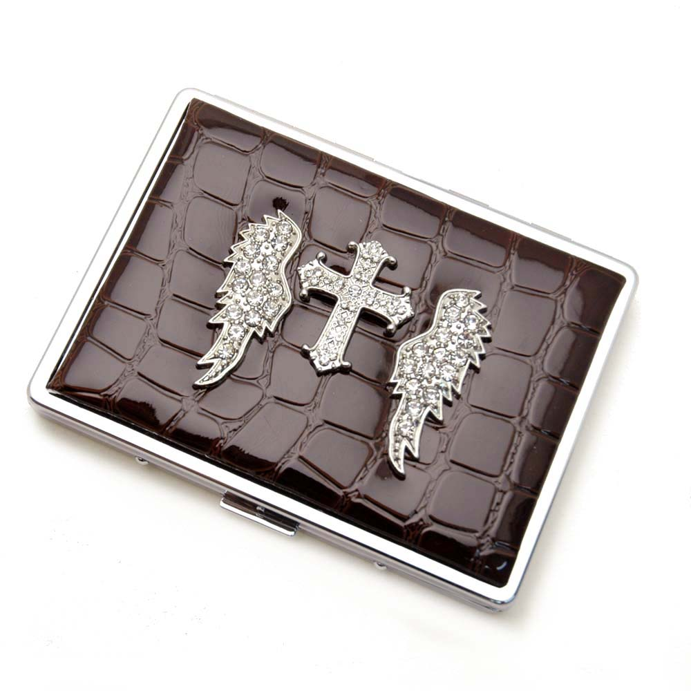 Croco embossed face, Wing cross accent card case