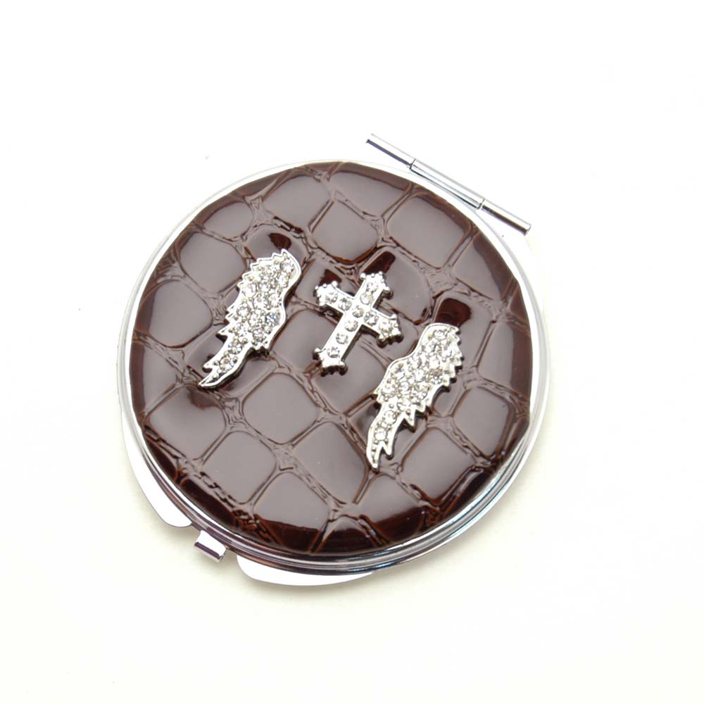 Dasein Rhinestone Wing Cross Design Compact Mirror-Brown