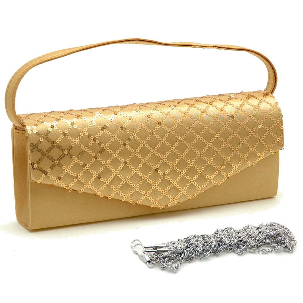 Sequined Mesh Evening Bag