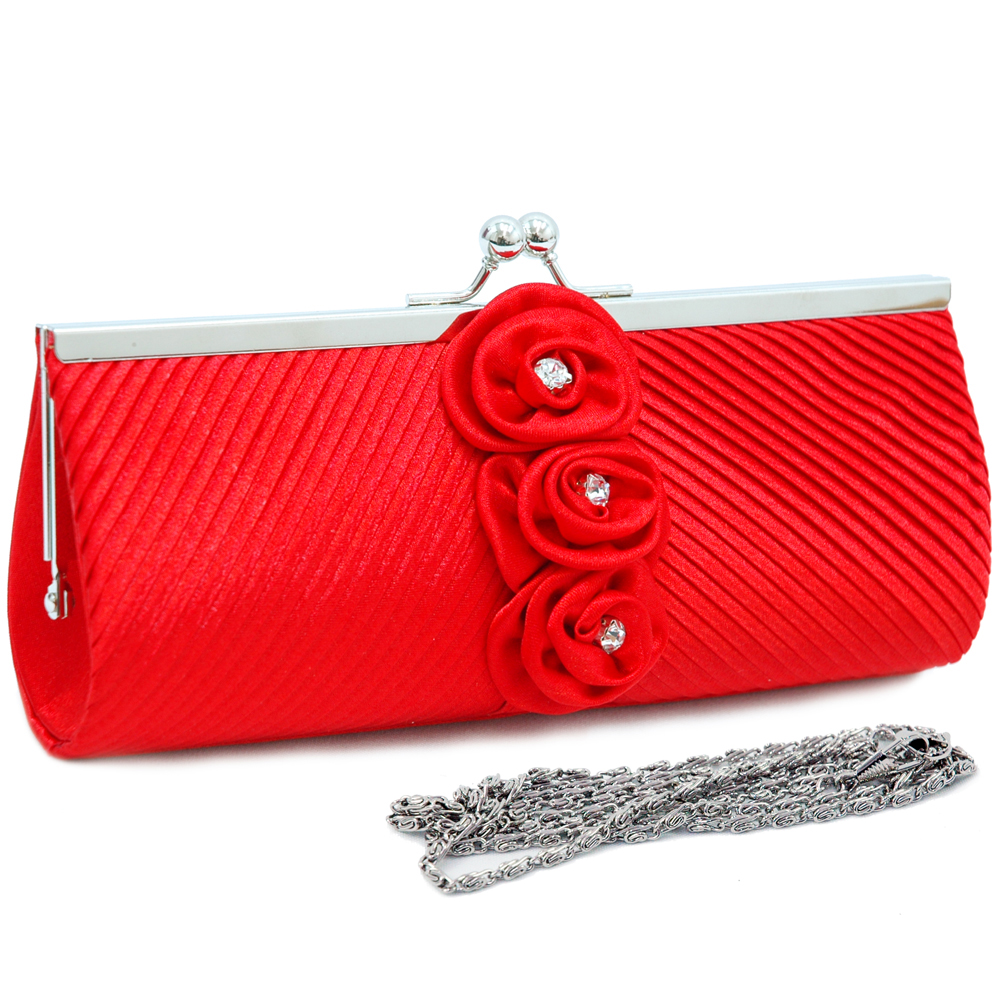 Tri-Flower Pleated Evening Bag