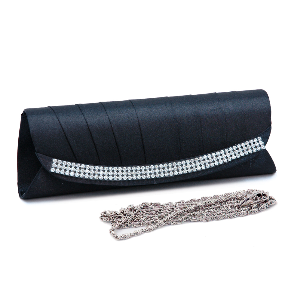 Pleated Rhinestone Trim Evening Bag