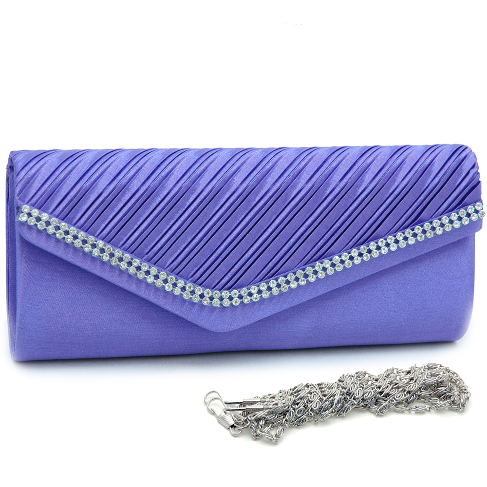 Rhinestone Rimmed Evening Bag with Angled Front Flap