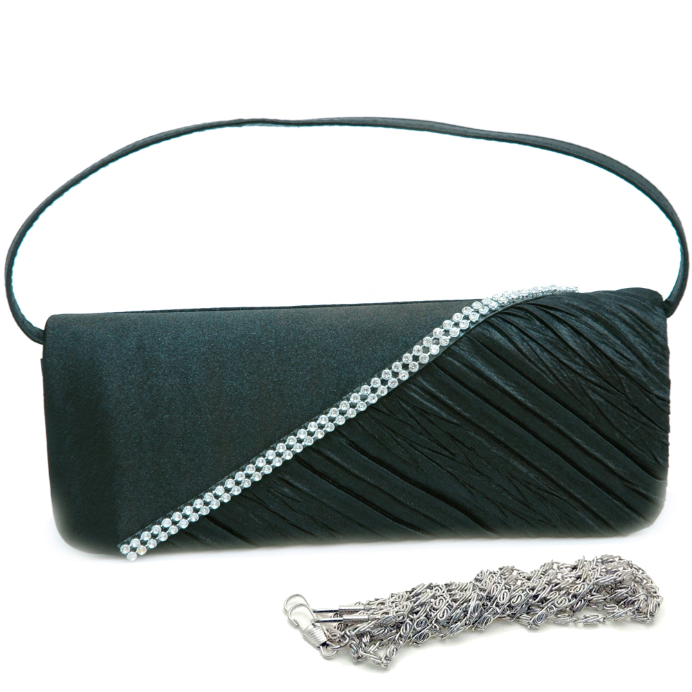 Rhinestone Studded Evening Bag with Half Pleated Front