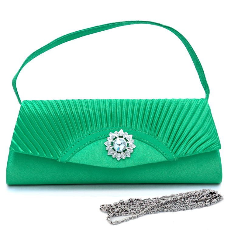 Pleated Rhinestone Flower Evening Bag