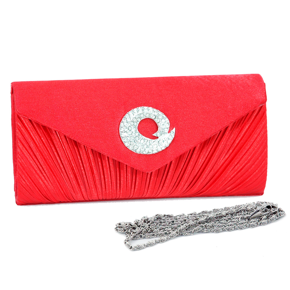 Pleated Body Evening Bag with Rhinestone Jewel