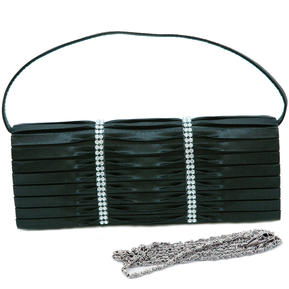 Rhinestone Studded Evening Bag with Pleated Front Flap