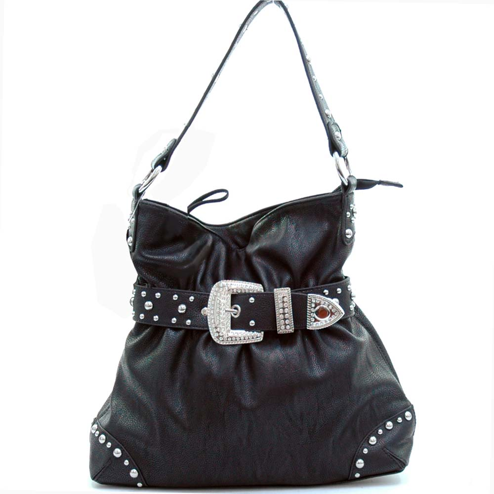 Rhinestone belt buckle front hobo bag
