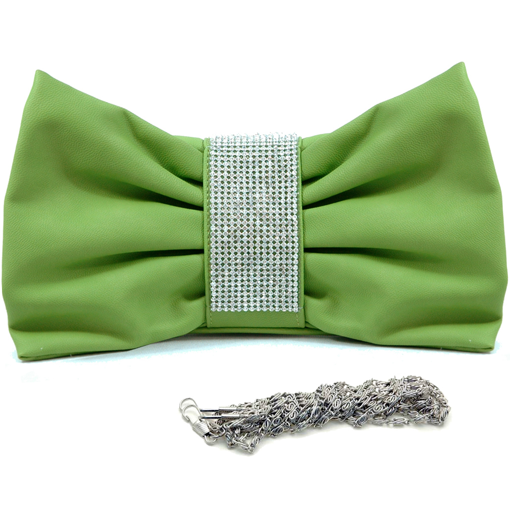 Dasein® Faux-leather Rhinestone-center Bow-shaped Lined Clutch
