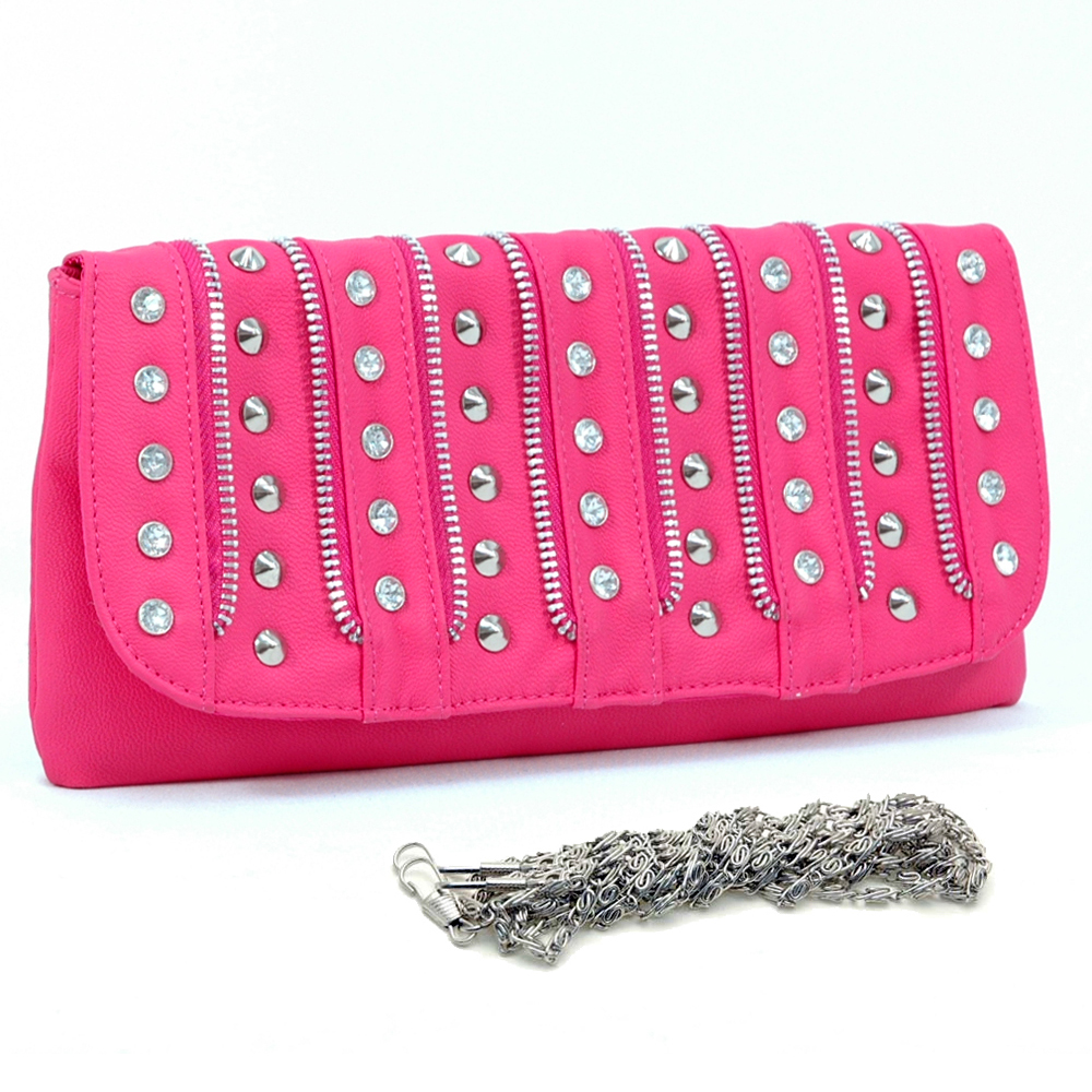 Dasein® Alternating Studs and Rhinestones Clutch
