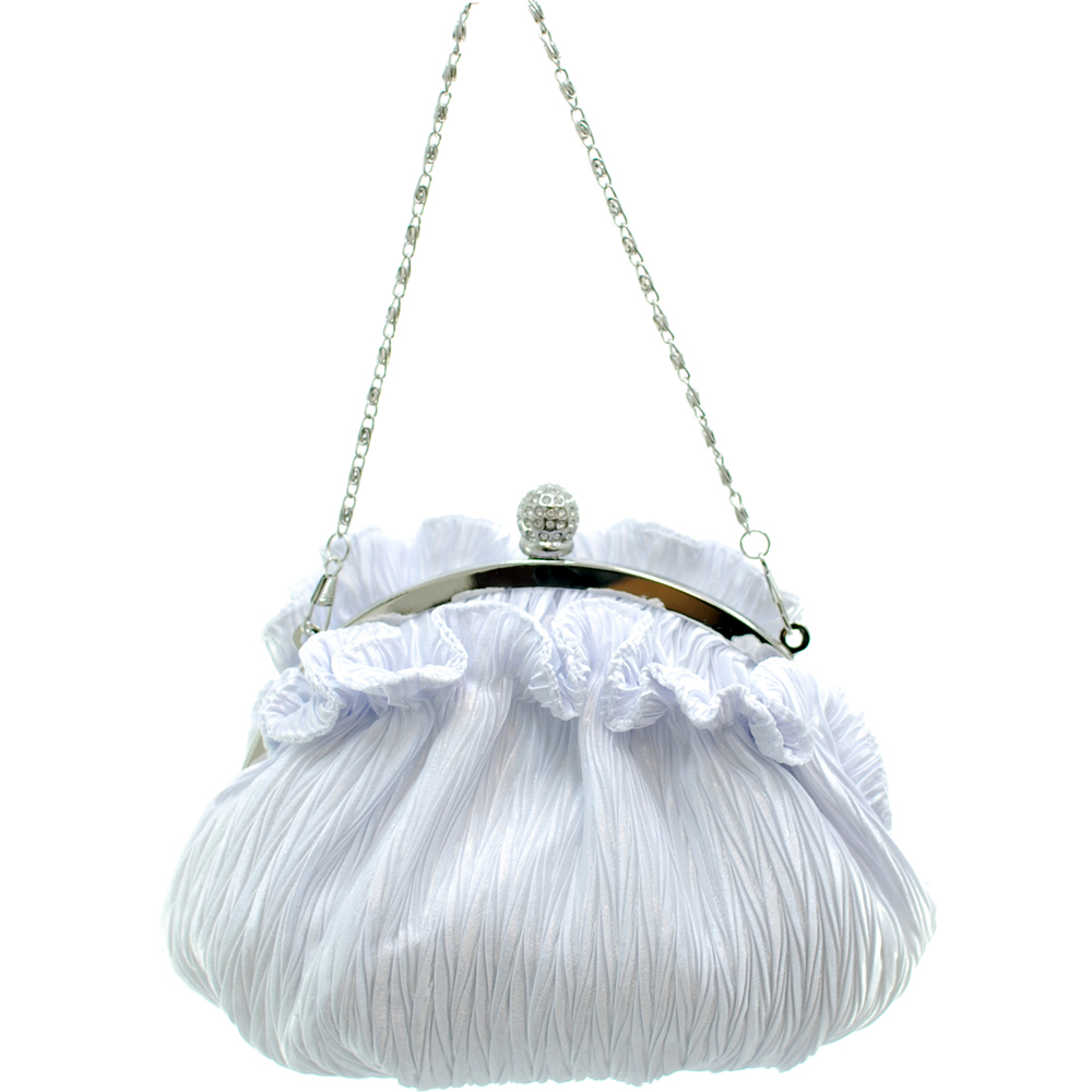 Chain Handle Ruffled Evening Bag
