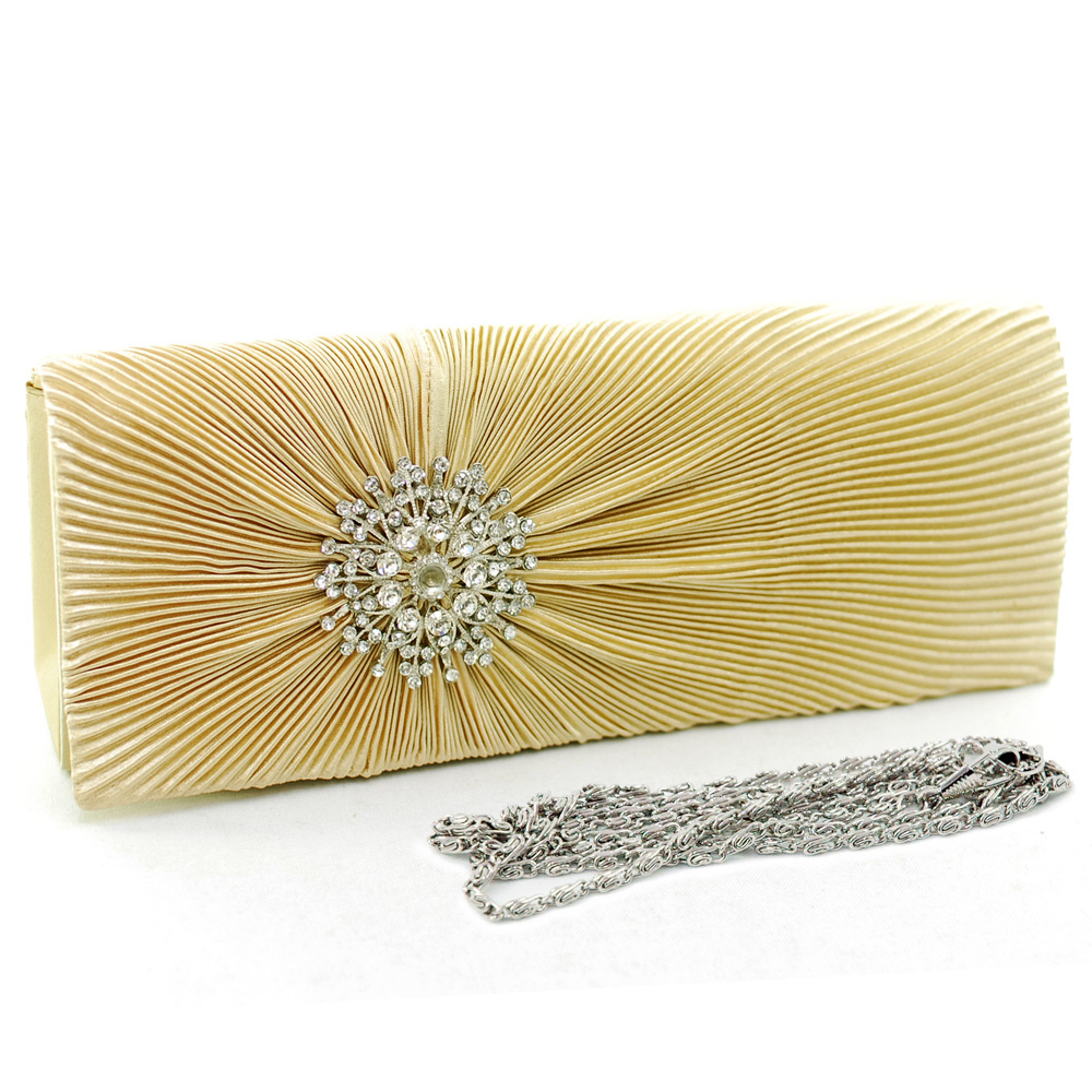 Rhinestone Brooch Pleated Clutch