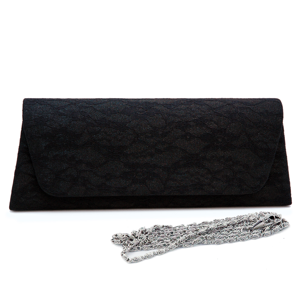 Floral Black Laced Evening Bag